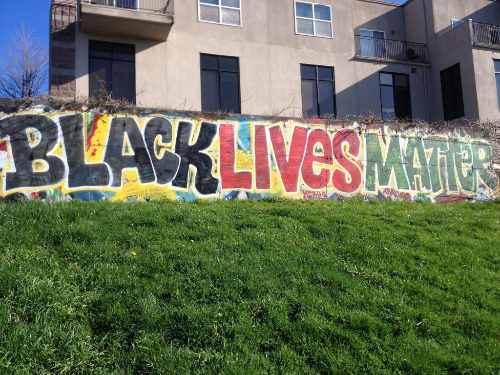 Black lives matter graffiti on wall